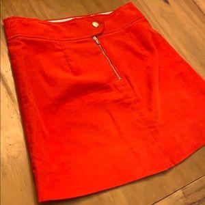 Orange Corduroy J. Crew Skirt w. Gold Detail